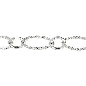 Sterling Silver Chain - Mixed Textured Oval and Round - 1 Foot