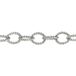 Sterling Silver Chain -Oxidized Twisted Link Chain - 1 Foot