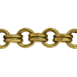 Brass Chain - Textured Double Cable 11.5mm - 1 Foot