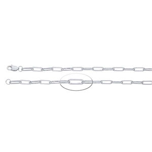 Sterling Silver 3.2mm Flat Oval Cable Chain with Lobster Clasp - 24 inch - Pkg/1