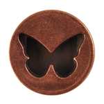 Antique Copper Plate Flat Leather Slider - Butterfly Circle 10mm