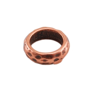 Copper Plate Spacer - Hammered 7mm Pkg - 4