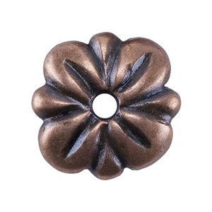 Copper Plate Bead Cap - Carved Flower 7mm Pkg - 2