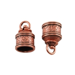 Antique Copper Plate End Caps - Swivel Floral 10mm Pkg - 2
