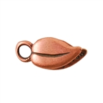 Copper Plate Crimp End Cap - Heart Leaf 1.5mm Pkg - 2