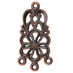 Copper Plate Connector - Flower Heart Pkg - 2