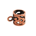 Copper Plate Tube Bail with Ring - Filigree 9mm x 13mm Pkg - 1