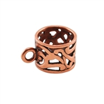 Copper Plate Tube Bail with Ring - Filigree 9mm x 15.5mm Pkg - 1