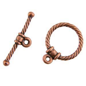 Copper Plate Toggle Clasp - Circle Rope - 1 Set