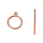 Copper Plate Toggle Clasp - Mini Wire Round - 1 Set