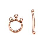 Copper Plate Toggle Clasp - Mini Curl - 1 Set