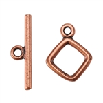 Copper Plate Mini Toggle Clasp - Diamond - 1 Set