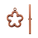 Copper Plate Toggle Clasp - Flower - 1 Set