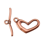 Copper Plate Toggle Clasp - Funky Heart - 1 Set