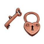 Copper Plate Toggle Clasp - Lock & Key - 1 Set