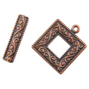 Copper Plate Toggle Clasp - Picture Frame - 1 Set