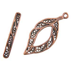 Copper Plate Toggle Clasp - Lacy Leaf - 1 Set