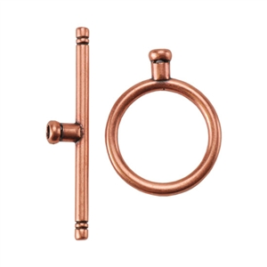 Copper Plate Toggle Clasp - Round Thin Large - 1 Set