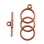 Copper Plate Toggle Clasp - 3 Rings 12mm - 1 Set