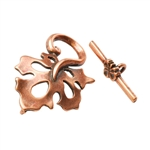 Copper Plate Mini Toggle Clasp - Oak Leaf - 1 Set