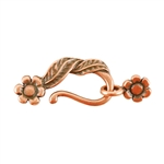 Copper Plate Hook & Eye Clasp - Leaf & Flower - 1 Set
