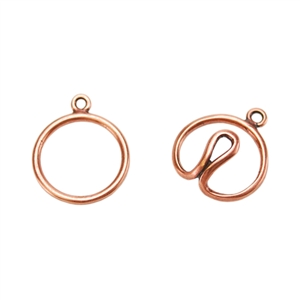 Copper Plate Hook & Eye Clasp - Wire Round - 1 Set