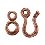 Copper Plate Hook & Eye Clasp - Hammered and Peened Hand Made Look - 1 Set