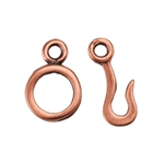 Copper Plate Hook & Eye Clasp - Hammered Hand Made Look - 1 Set