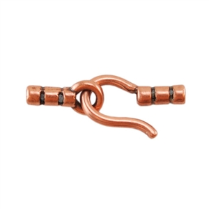 Copper Plate Hook & Eye Clasp - Crimp End 1mm - 1 Set