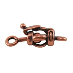 Copper Plate Ball & Joint Clasp - Small Barrel - 1 Set