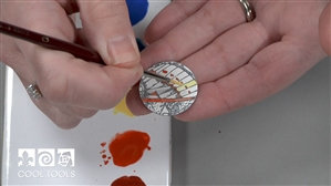 Project / Product Video - Using Fine Line Black Underglaze and Sunshine Enamels with Stamps by Karen Trexler
