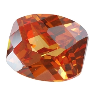 Cubic Zirconia - Champagne - Barrel - Checkerboard