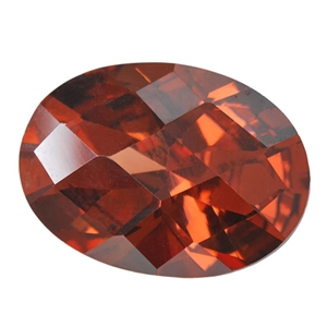 Cubic Zirconia - Smoked Topaz - Oval - Checkerboard