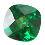 Cubic Zirconia - Columbian Emerald - Cushion - Checkerboard