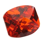 Cubic Zirconia - Fire Opal - Barrel - Checkerboard