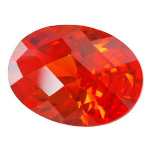 Cubic Zirconia - Fire Opal - Oval - Checkerboard