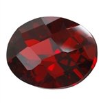 Cubic Zirconia - Hessonite Garnet - Oval - Checkerboard