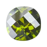 CZ: Olivine - Cushion - Checkerboard 10mm Pkg - 1