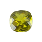 Cubic Zirconia - Olivine - Cushion - Checkerboard
