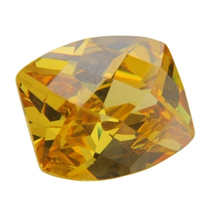 Cubic Zirconia - Yellow Diamond - Barrel - Checkerboard