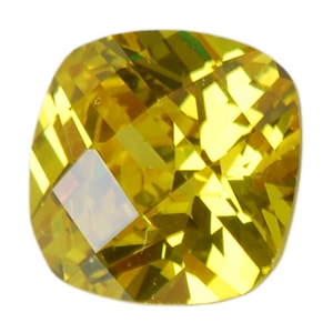 Cubic Zirconia - Yellow Diamond - Cushion - Checkerboard