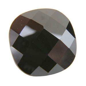 Cubic Zirconia - Jet Black - Cushion - Checkerboard
