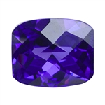 Cubic Zirconia - Dark Amethyst - Barrel - Checkerboard