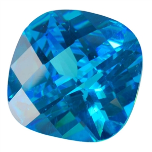 Cubic Zirconia - Blue Topaz - Cushion - Checkerboard