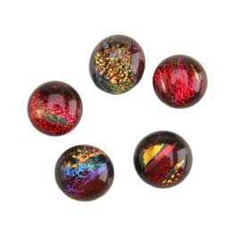 Dichroic Gems - Red Small - 6mm to 10mm - 5 gems