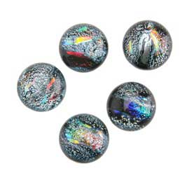 Dichroic Gems - Silver Small - 6mm to 10mm - 5 gems