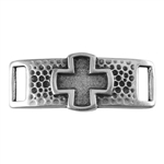 Antique Sterling Silver Plate Leather Bracelet Bar - Relief Cross 10mm Pkg - 1