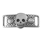 Antique Sterling Silver Plate Leather Bracelet Bar - Fancy Skull 10mm Pkg - 1