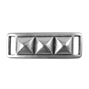 Antique Sterling Silver Plate Leather Bracelet Bar - Pyramid Stud 10mm Pkg - 1