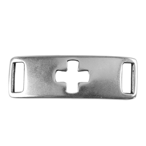 Antique Sterling Silver Plate Leather Bracelet Bar - Cross 10mm Pkg - 1
